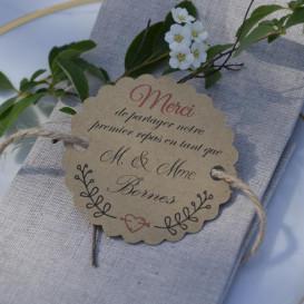 étiquette premier repas mariage, décoration de table, papier kraft