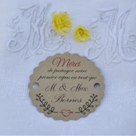 étiquette, premier repas mariage, papier kraft, motif branchage champêtre