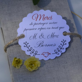 étiquette mariage, premier repas, papier blanc, motif champêtre