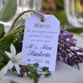 étiquette mariage, repas mariés, papier blanc
