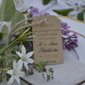 étiquette mariage, repas cérémonie, papier kraft, M. et Mme