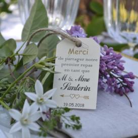 Premier repas mariés, étiquette ivoire, Monsieur et Madame