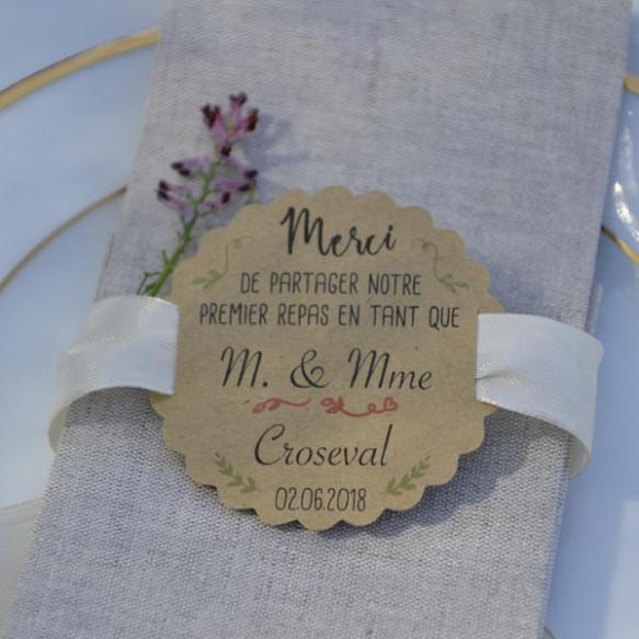 étiquette mariage, monsieur et madame, premier repas, papier kraft