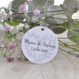 étiquette mariage Provence, olivier, papier blanc