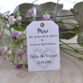 étiquette remerciement mariage, papier blanc, champêtre, provence