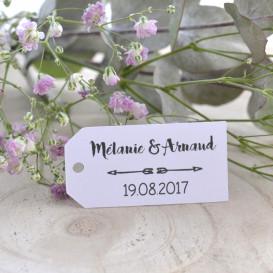 étiquette mariage, rectangulaire, double flèche, papier blanc