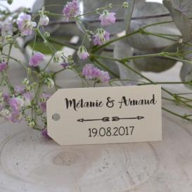 étiquette mariage, flèche, rectangle, ivoire