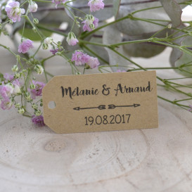 étiquette mariage, rectangulaire, papier kraft, flèches