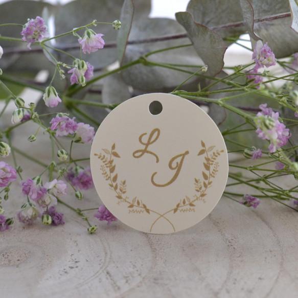 étiquette mariage, initiales, végétal, papier ivoire