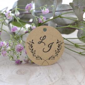 étiquette mariage, couronne végétale, initiales, papier kraft