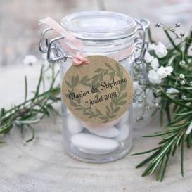 étiquette dragée mariage, coeur en provence, papier kraft
