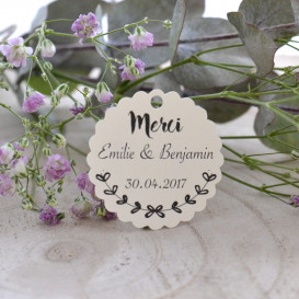 étiquette mariage champêtre, cadeau invité, papier ivoire