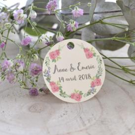étiquette mariage, couronne végétale florale, papier ivoire