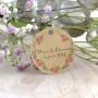 étiquette mariage, champêtre floral, papier kraft