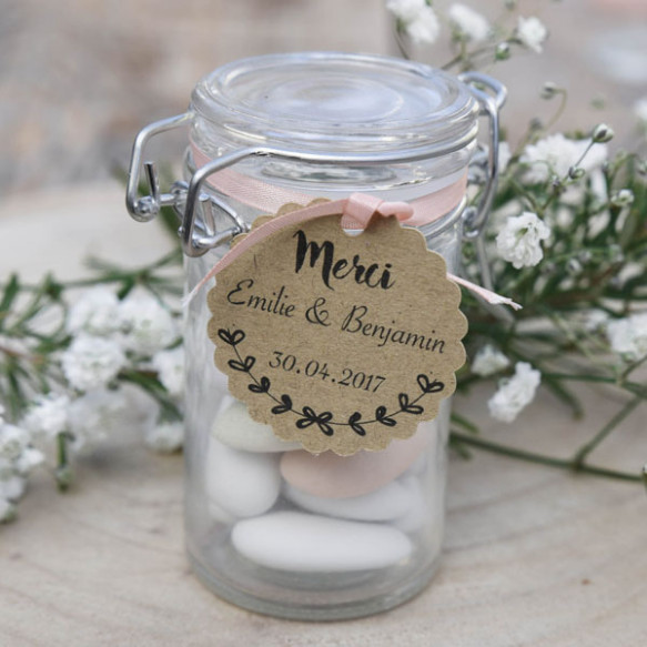 étiquette mariage, feuillage champêtre, papier kraft