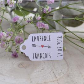 étiquette mariage, flèche, papier blanc