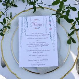 Menu mariage champêtre, pluie végétale, papier blanc