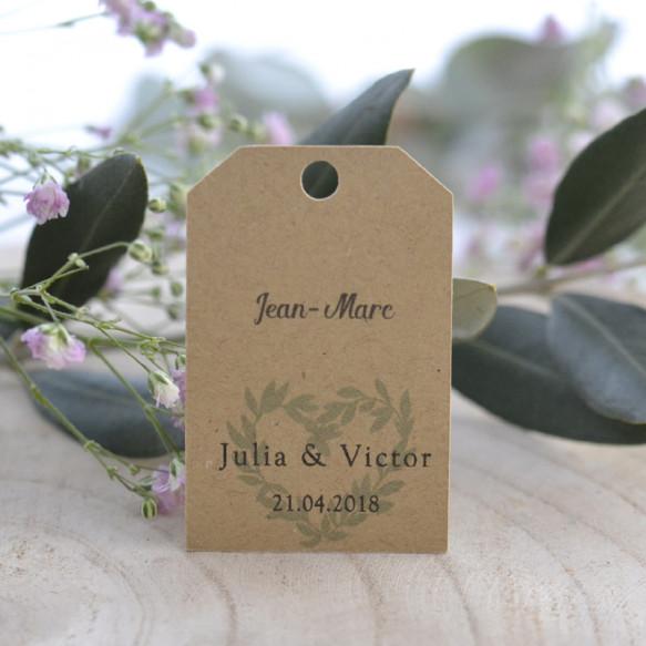 étiquette porte-nom, mariage, papier kraft, coeur, olivier provence