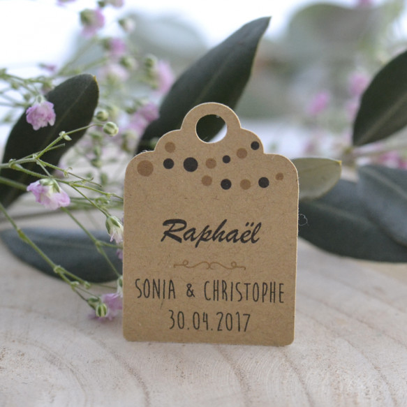 étiquette, porte-nom, mariage, décoration de table, papier kraft