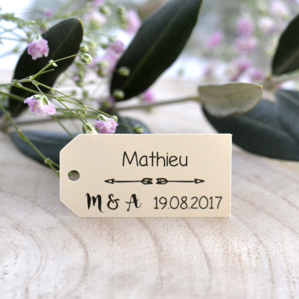 étiquette mariage, porte-nom, personnalisé, papier ivoire