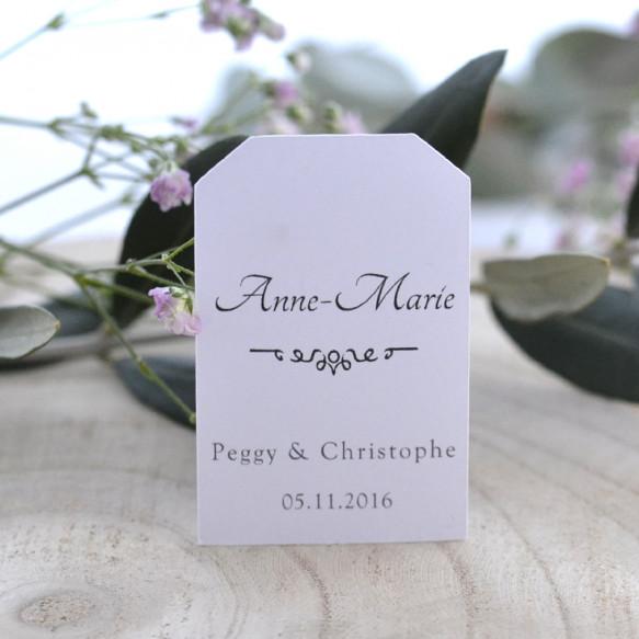 étiquette porte-nom, mariage, papier blanc,