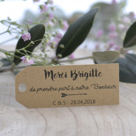 mariage, porte-nom, papier kraft, personnalisé
