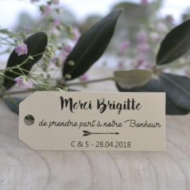étiquette porte-nom, mariage, papier ivoire