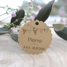 étiquette porte-nom, mariage, anniversaire, noces, décoration de table, papier kraft