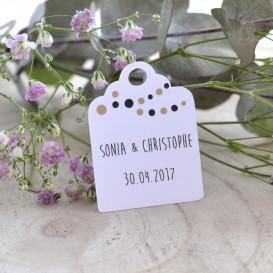 mariage étiquette blanche, dragées, cadeau invité