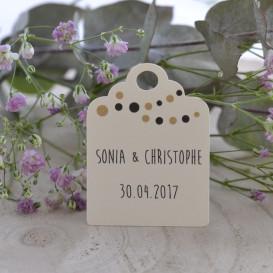 étiquette mariage, ivoire, lampions, dragées, cadeau invité