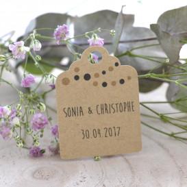 étiquette mariage, papier kraft, personnalisé