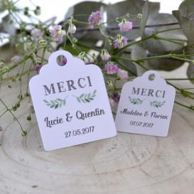 Etiquette mariage, faire-part, dragées, papier blanc