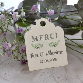 étiquette mariage, papier ivoire, feuillage