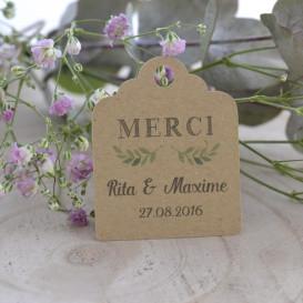 papier kraft, étiquette mariage, feuillage, remerciements