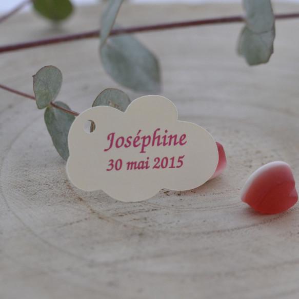 étiquette baptême, forme nuage, papier ivoire