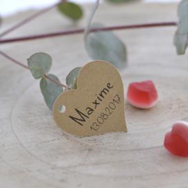 étiquette baptême, mariage, papier kraft, forme coeur.