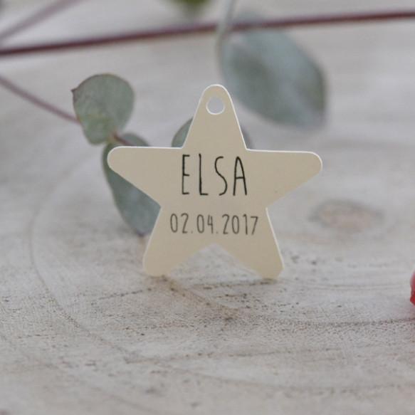 étiquette baptême, papier ivoire, forme étoile.
