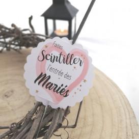 mariage étiquette bâton étincelle, cierge magique, coeur