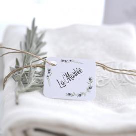 marque-place, porte nom, personnalisé, olivier, champêtre, provence, papier blanc
