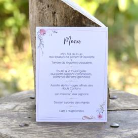 Menu mariage, cadre floral, mariage champêtre, papier blanc