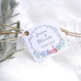 étiquette mariage, couronne, pivoine, papier blanc