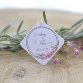 étiquette, mariage, alliances, fleurs, papier blanc