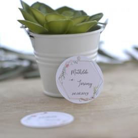 étiquette mariage, moderne, forme hexagonale, géométrique, papier blanc