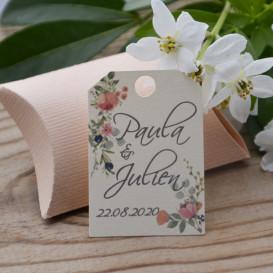 étiquette mariage, papier ivoire, olive, rose et pivoines