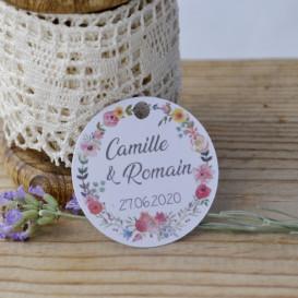 étiquette - kraft - mariage - couronne de fleurs - champêtre