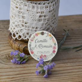 étiquette - ivoire- mariage - couronne de fleurs - champêtre