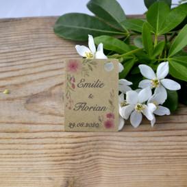 mariage - étiquette - cadeau invité - faire part - save the date - fleurs -papier kraft