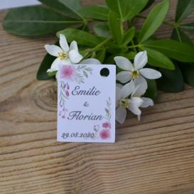 mariage - étiquette - cadeau invité - faire part - save the date - fleurs -papier blanc
