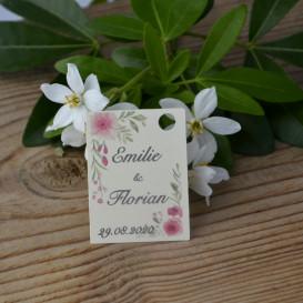 mariage - étiquette - cadeau invité - faire part - save the date - fleurs -papier ivoire