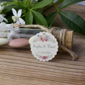 mariage - fleurs - étiquette - cadeau invité - faire-part - save the date